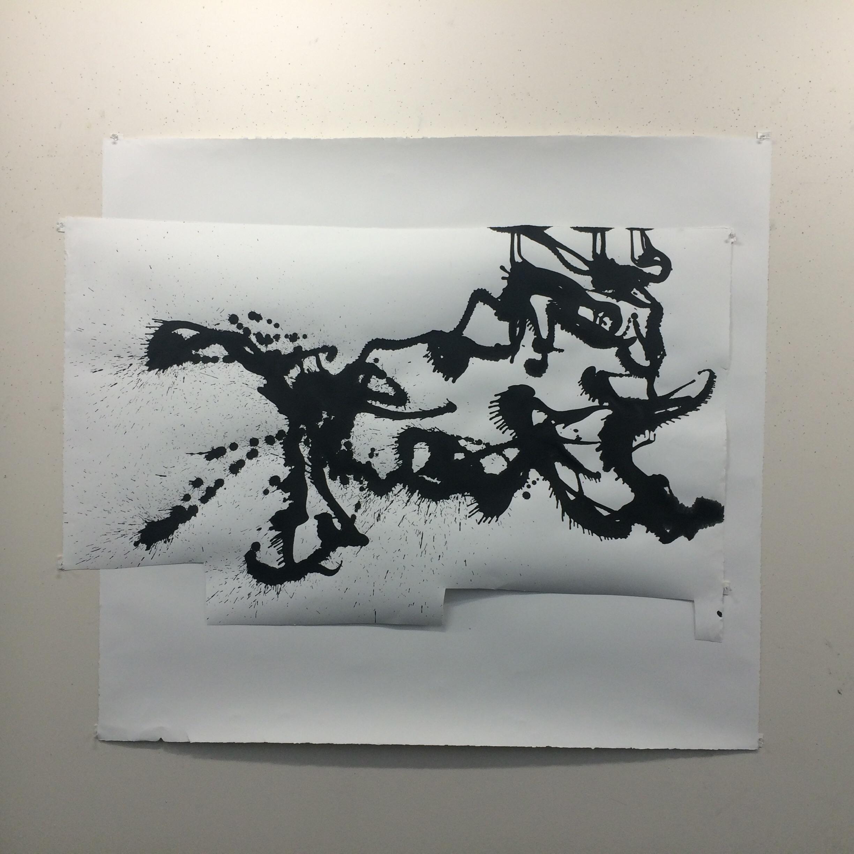 """""""Shisa the Japanese lion dog"""" s  46"""" X 54""""  Collage, ink on Stonehenge."""