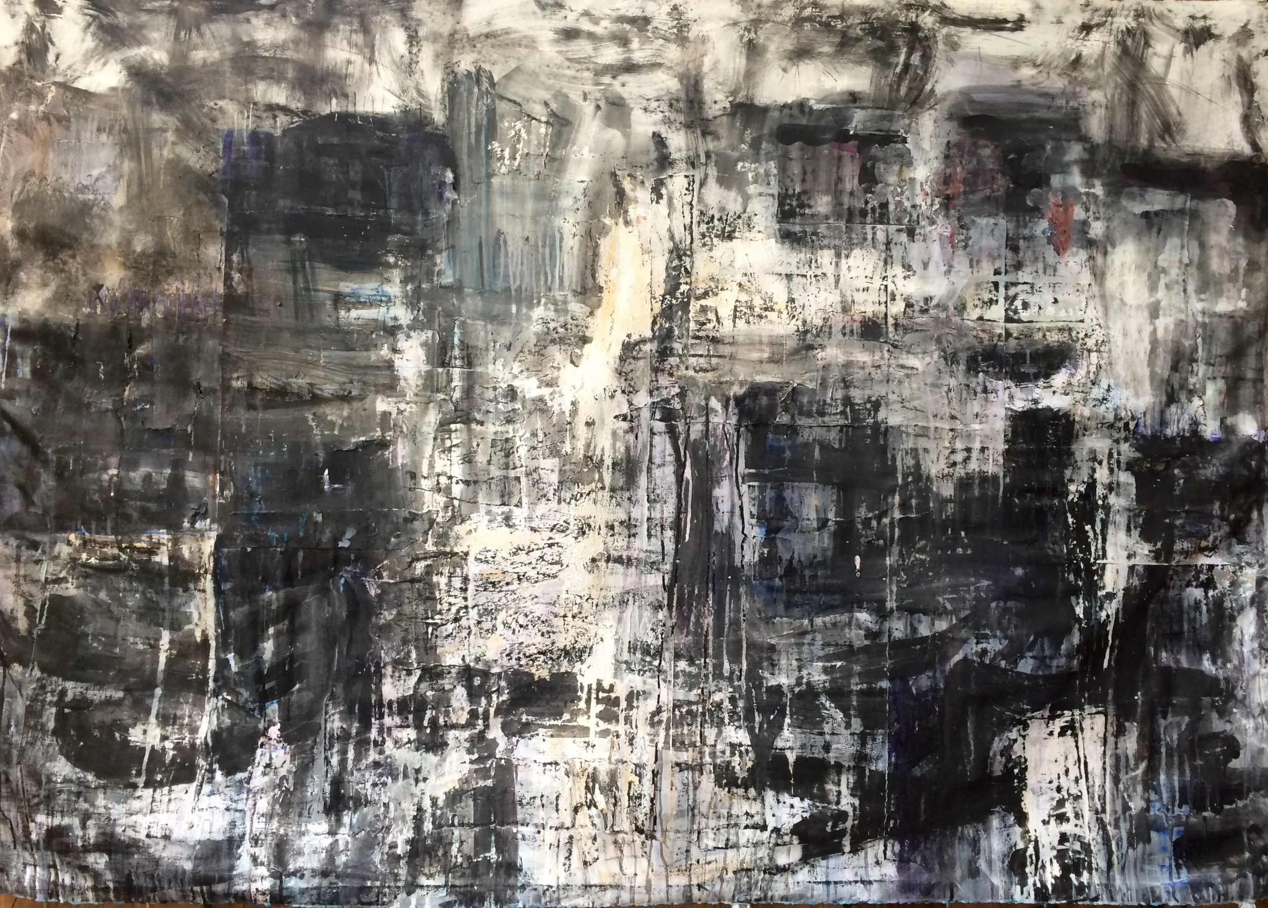 """Cranes at first light  50"""" X 72""""  ink, gesso, charcoal and collage."""