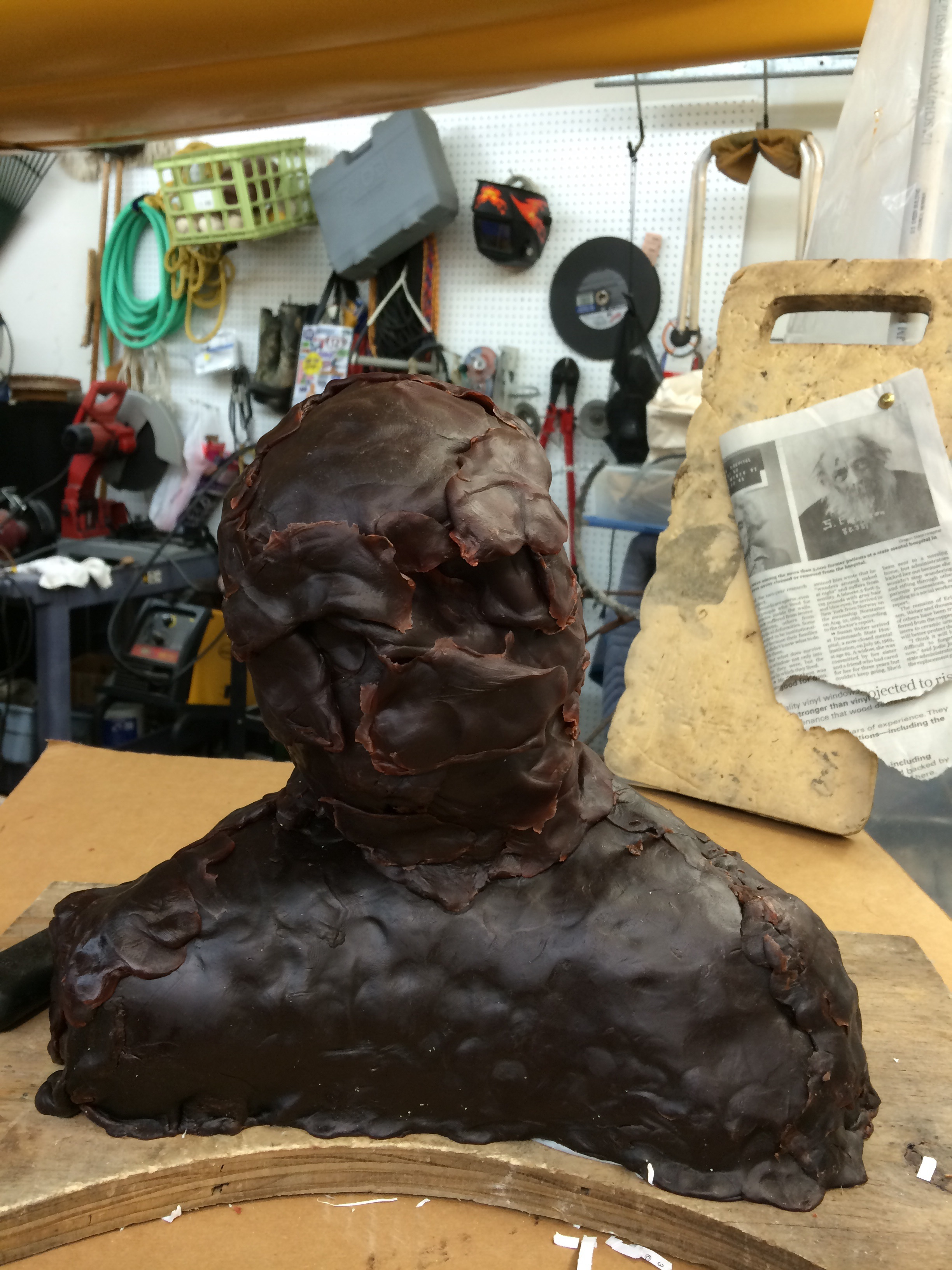 Building up the facial features.