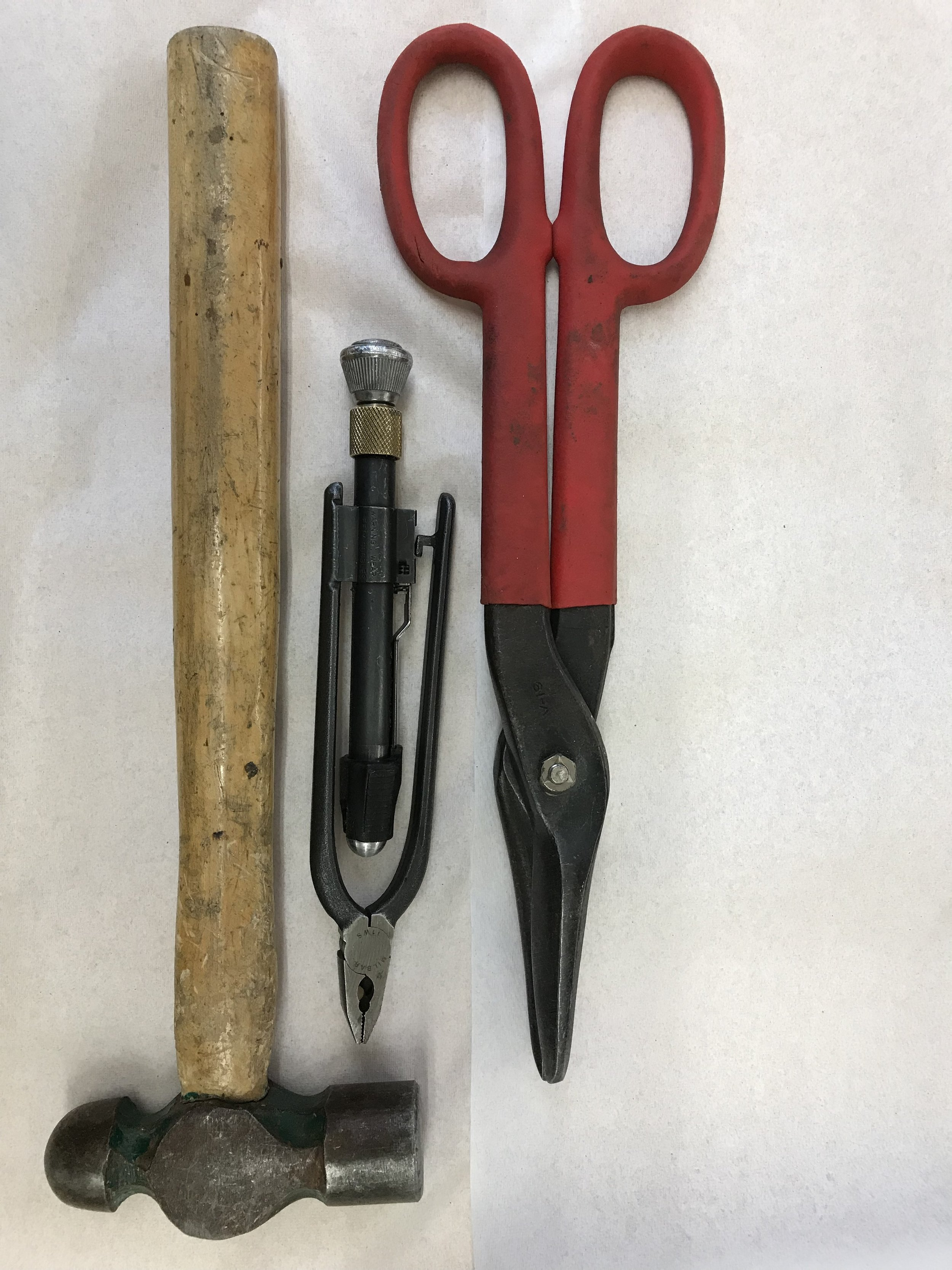 The tools   I use a hammer to manipulate the lath and to smash the sharp edges of the cut lath. The pliers are used to tie or twist the ties to secure the lath to the armature. The clippers are used to cut the lath.