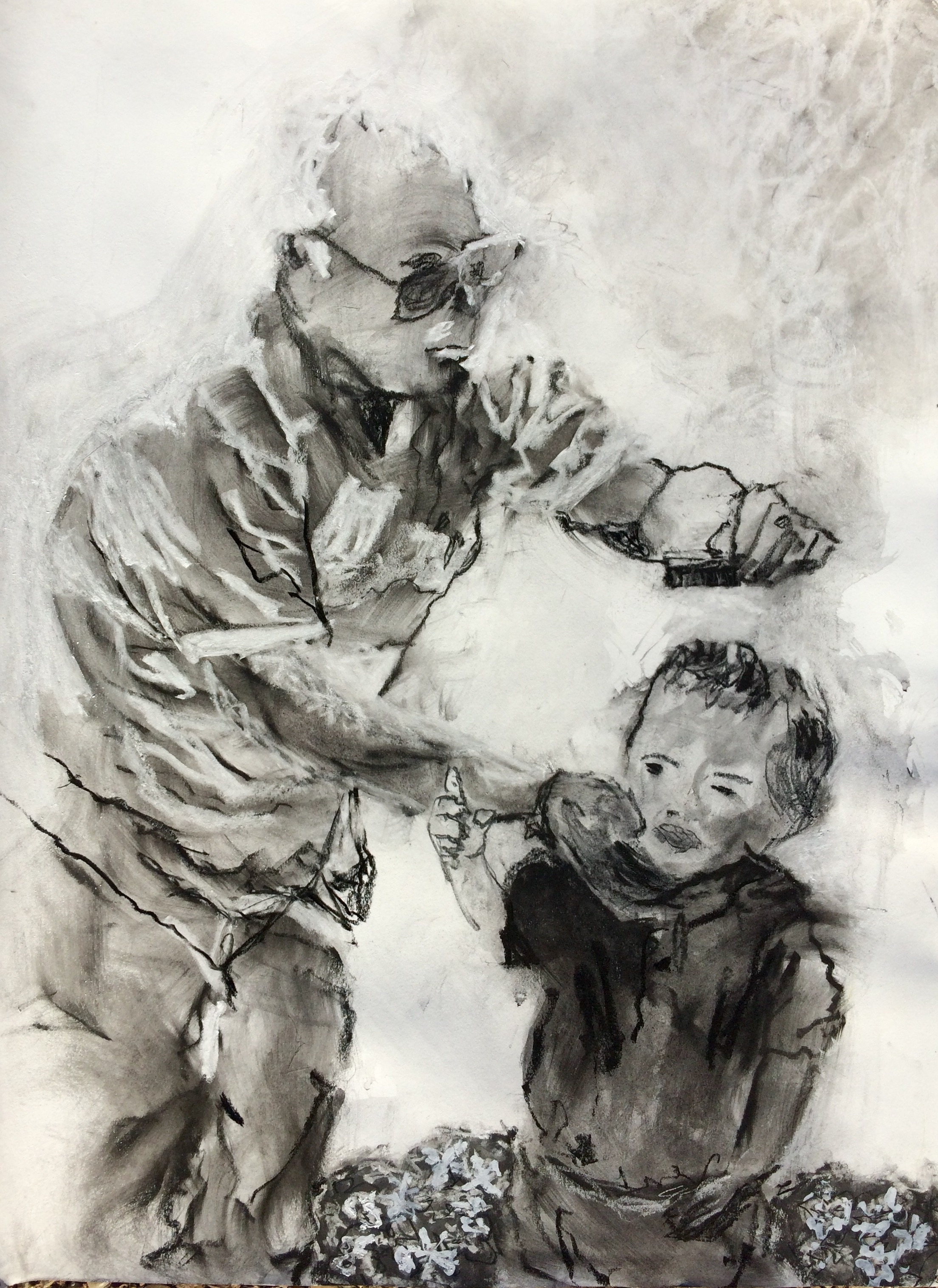 "Many times after he had checked on the west side stores he would stop by my house with a sucker for my kids. I drew the piece above from a photo taken on one such day. I was already to take my kids picture in their Easter clothes.     COMB HERE I   30"" X 22"" charcoal, ink and pastel 2015  Comb Here This piece is inspired by an out of focus photo I took in 1993.  My father stopped by my home as I was taking my son's Easter photo. To make sure every hair was in place my father of little hair whipped out the comb he always carried in his shirt pocket. The quality of the photo was poor but the moment was priceless."