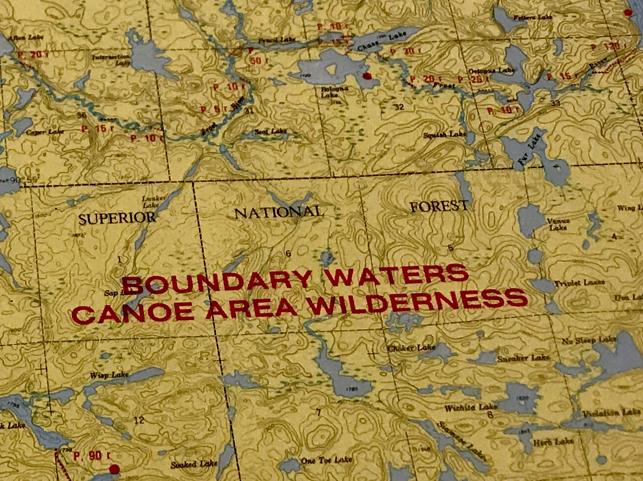 Map of the Boundary Waters north of Minneapolis