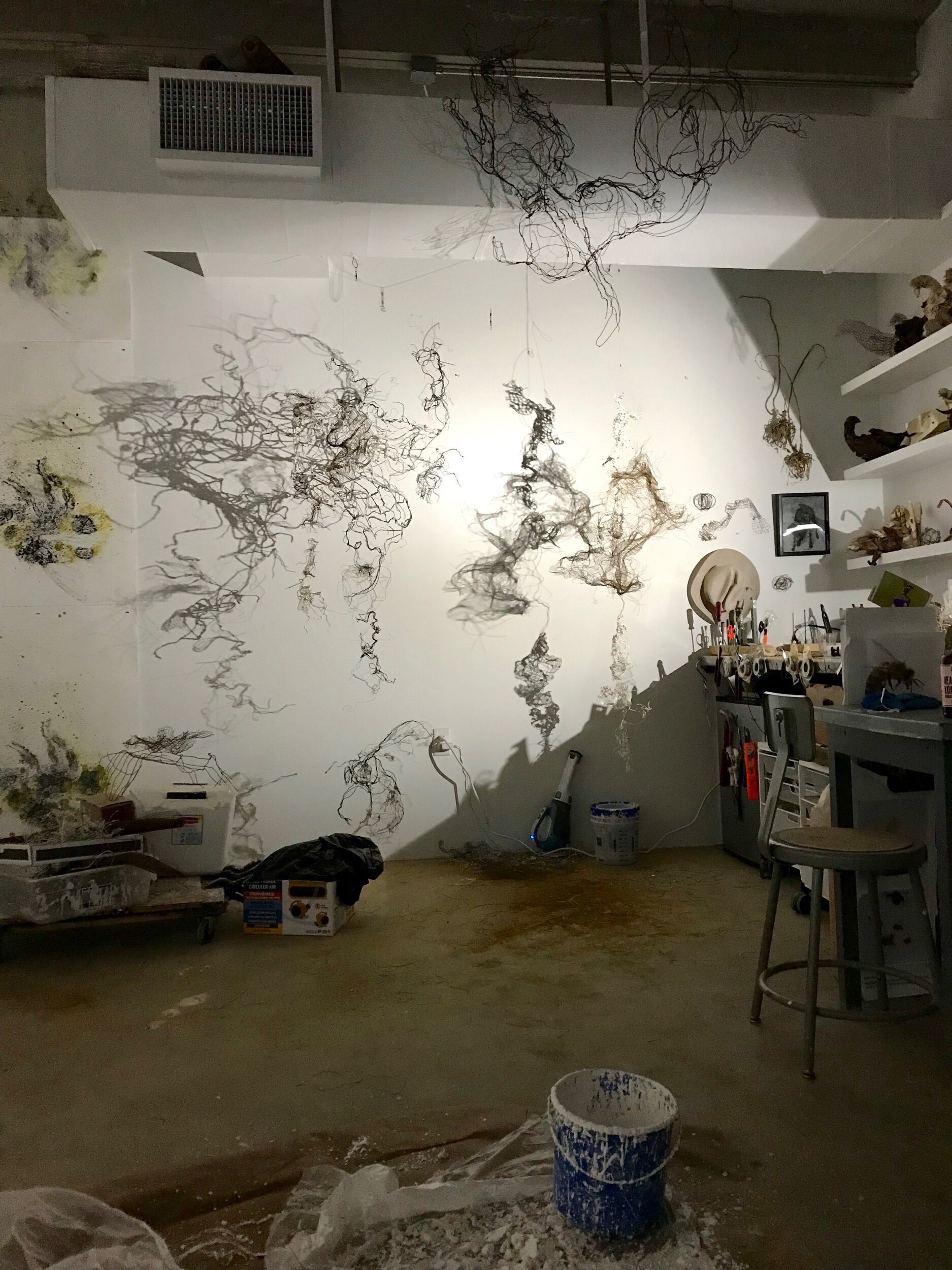 My favorite corner to rip, wrangle, and stitch wire cloth into kinetic sculptures.