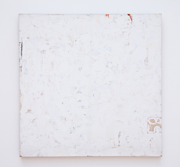 """Robert Ryman, Untitled, 1958, oil on canvas, 43"""" x 43"""" Image courtesy of collection of SFMOMA"""