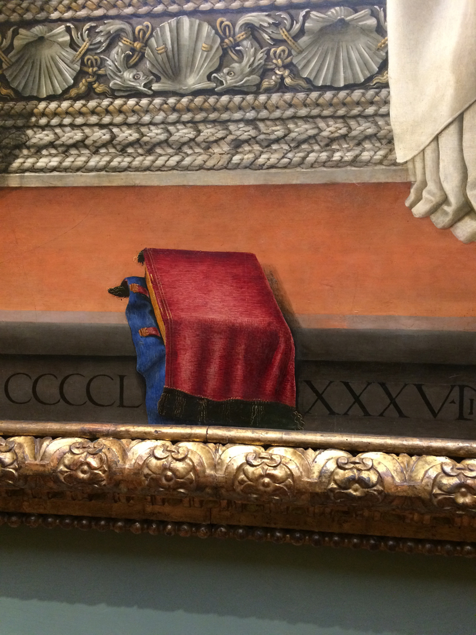 Detail of the Otto Pratica Altarpiece by Filipino Lippi. Reframed and located at the Galleria Uffizi, Florence.