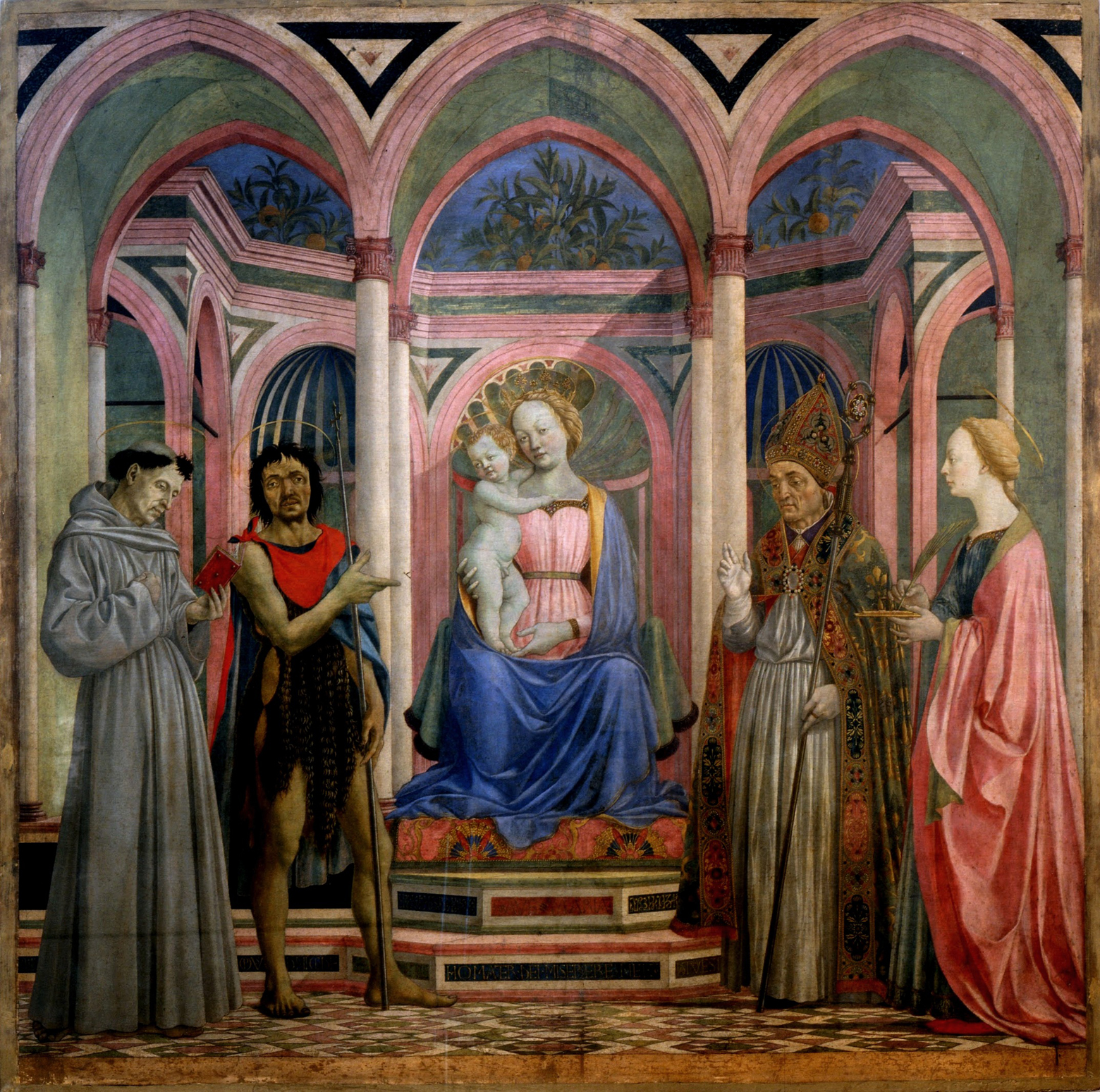 St. Lucy Altarpiece by Domenico Veneziano, tempera on panel 1445-7. Located at the Galerie Uffizi, Florence.