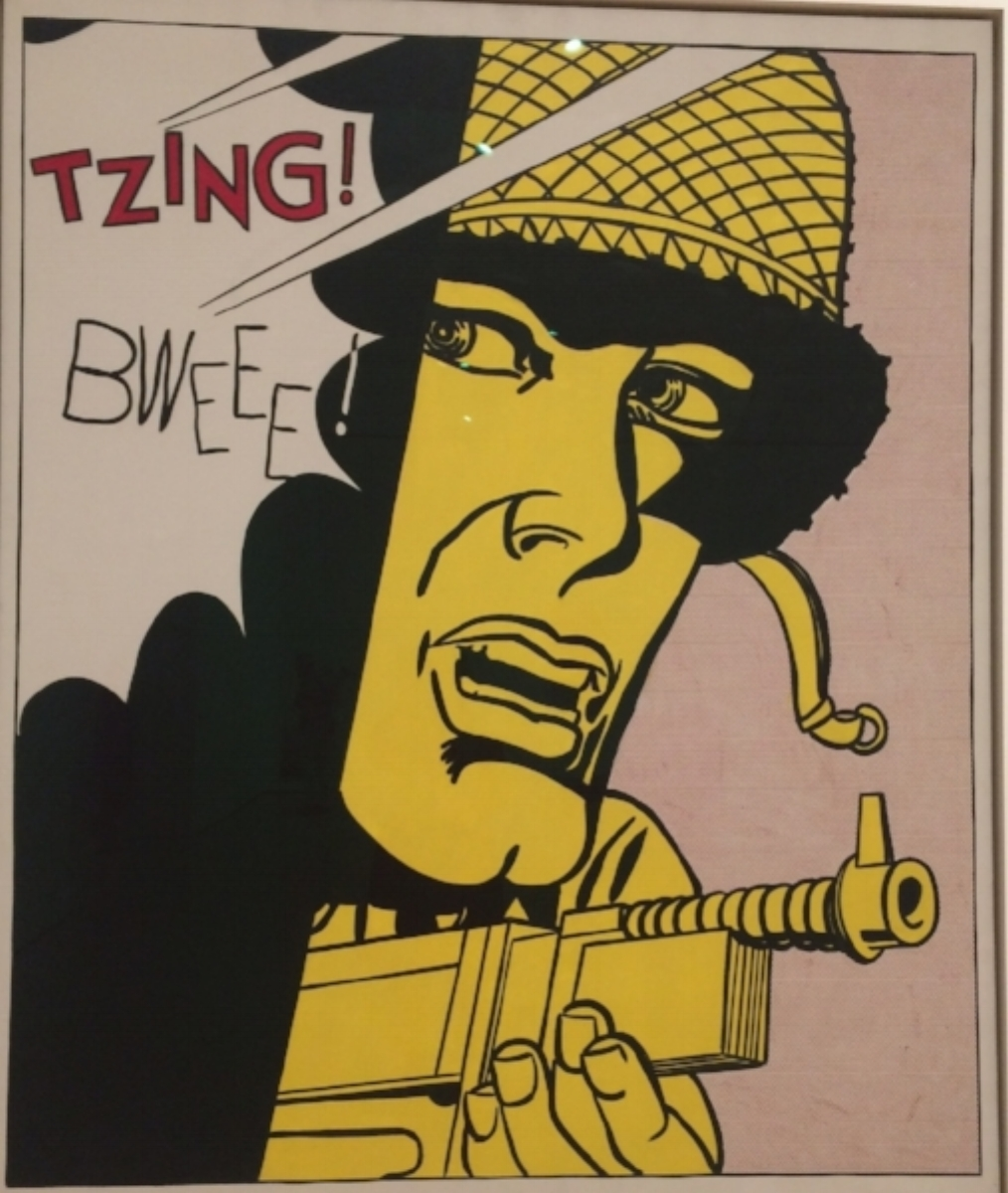 """Roy Lichtenstein, Live Ammo (Tzing), oil on canvas, 69.5"""" x 57.5"""", 1962. Courtesey of SF MOMA."""