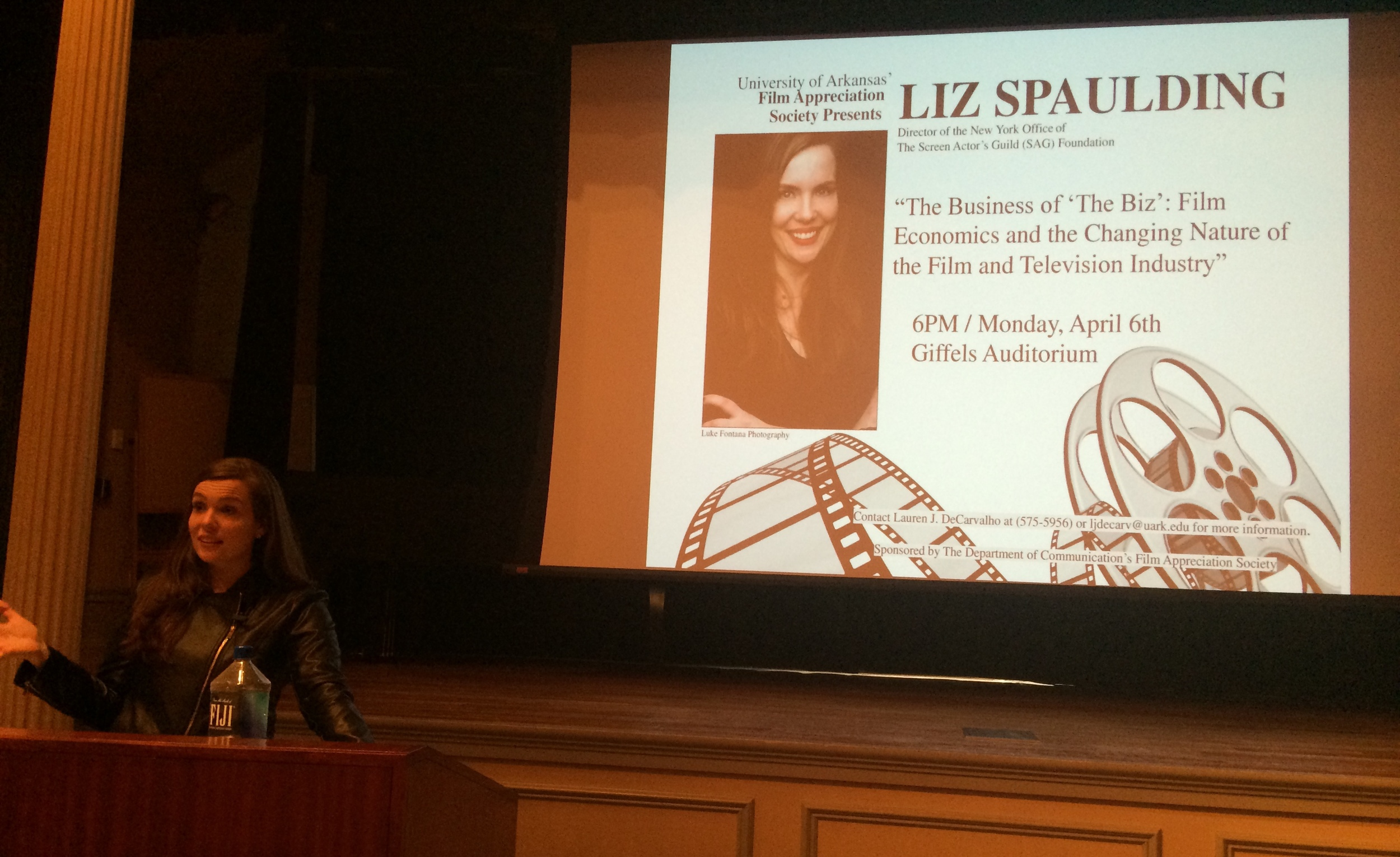 """Speaking about """"The Business of 'The Biz'"""" to the University of Arkansas'Film Appreciation Society in Fayetteville AK.April 6, 2015."""