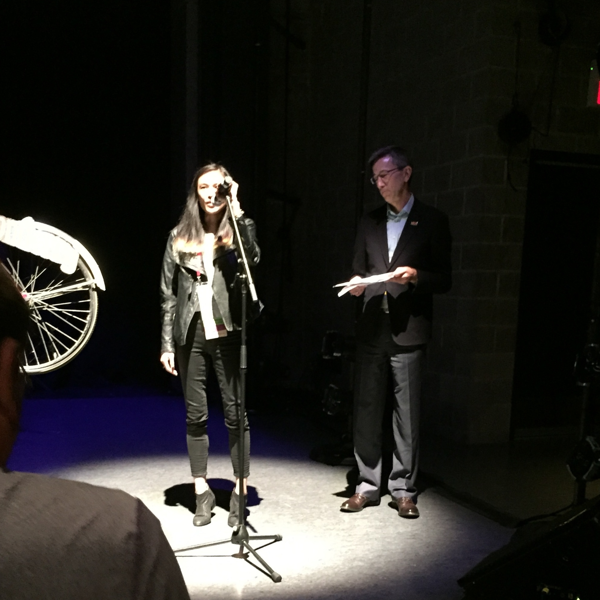Gotta stay on my toes! Speaking at the Juried Showcase at SFU Goldcorp's Wong Experimental Theatre. Photo: Isabel Kim