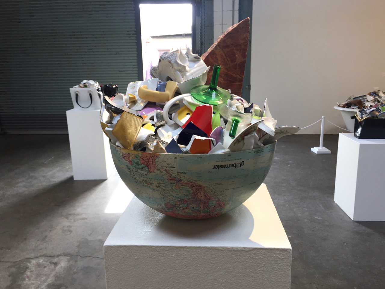 Some of Ramekon O'Arwisters' sculptures at the  Recology Art Exhibit