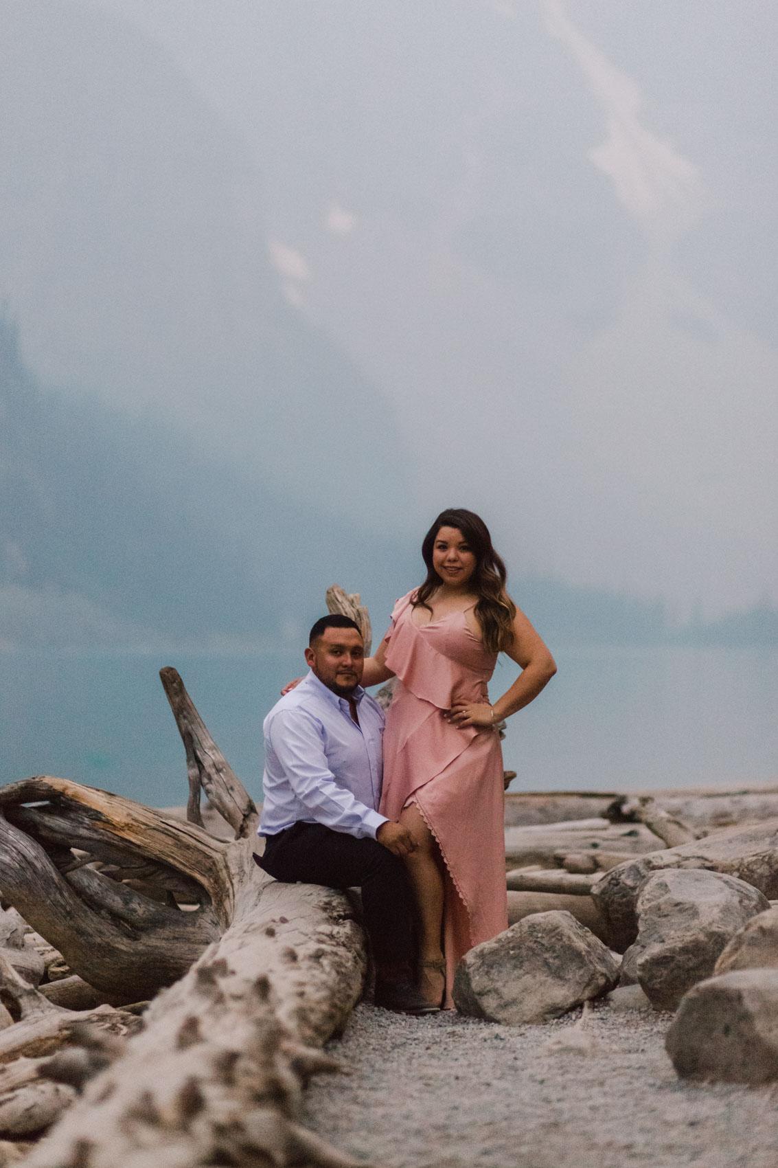 Lake Louise Mountain Engagement Photographer Moraine Lake Wedding Jennie Guenard Photography