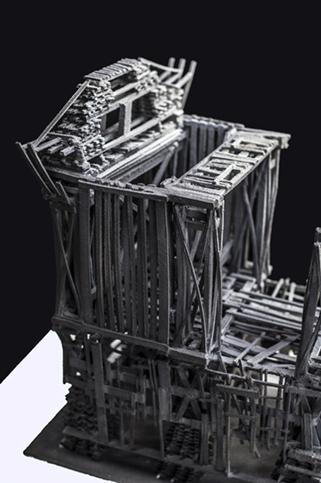 Galloping 12th Street Viaduct  (detail) ,  2012, earthenware and terra sigilatta.