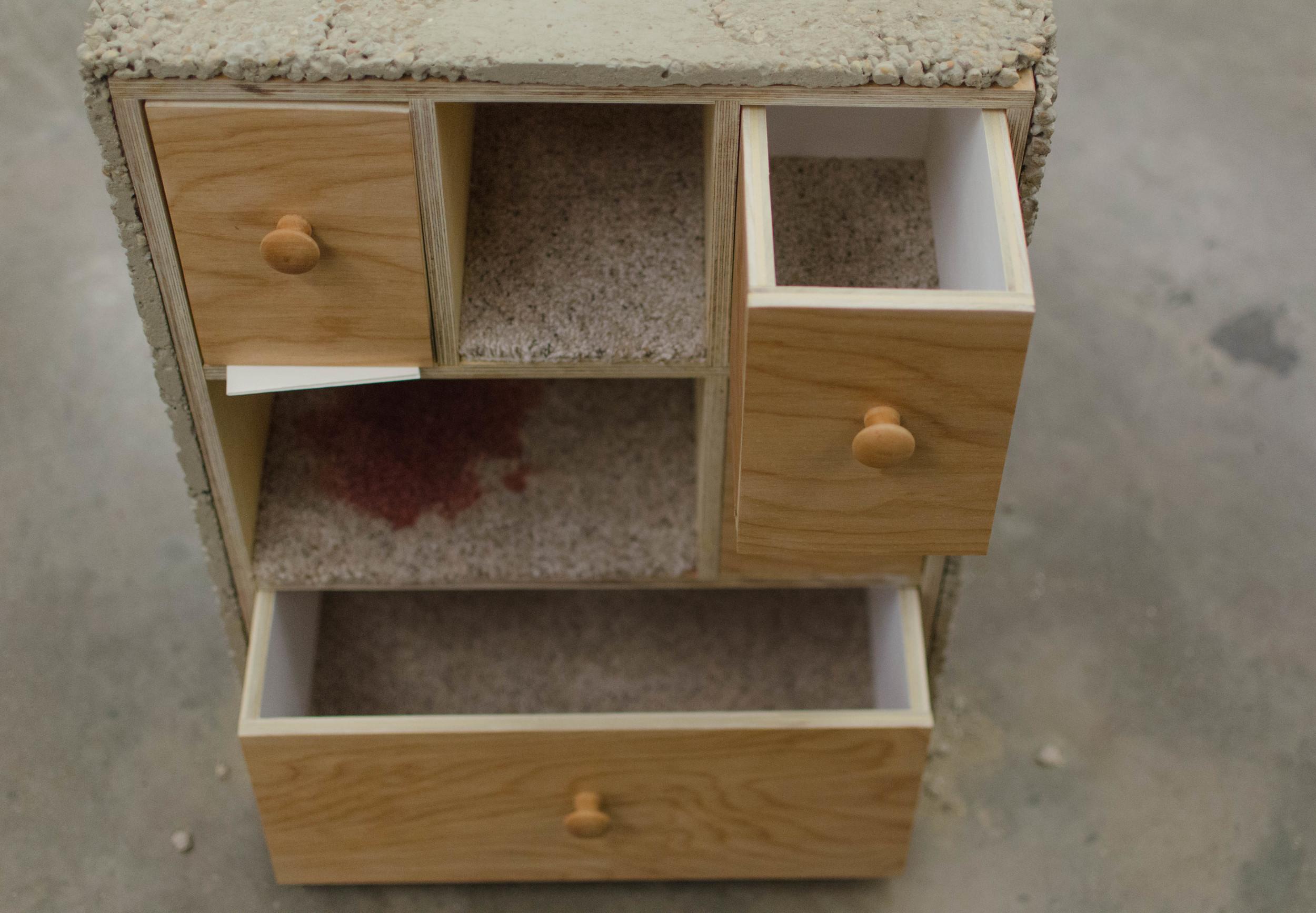 carpet, concrete, plywood, paint primer, stain, Febreze, note