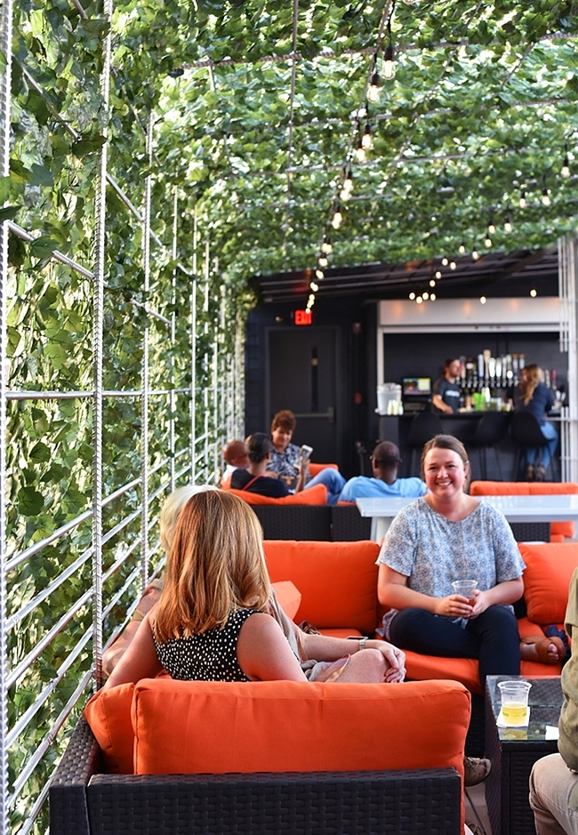 A canopy of faux greenery blankets much of the venue's rooftop bar offering shade and creating a verdant space in which to kick back and enjoy a craft cocktail from the nearby bar.
