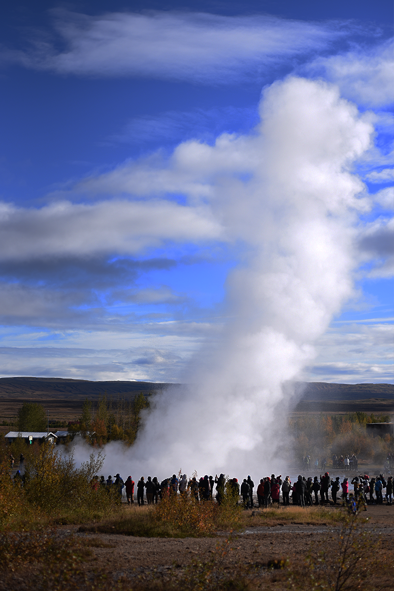 Strokkur   This is the most active Geysir at Geysir's geothermal field. It erupts every few minutes and attracts large crowds.