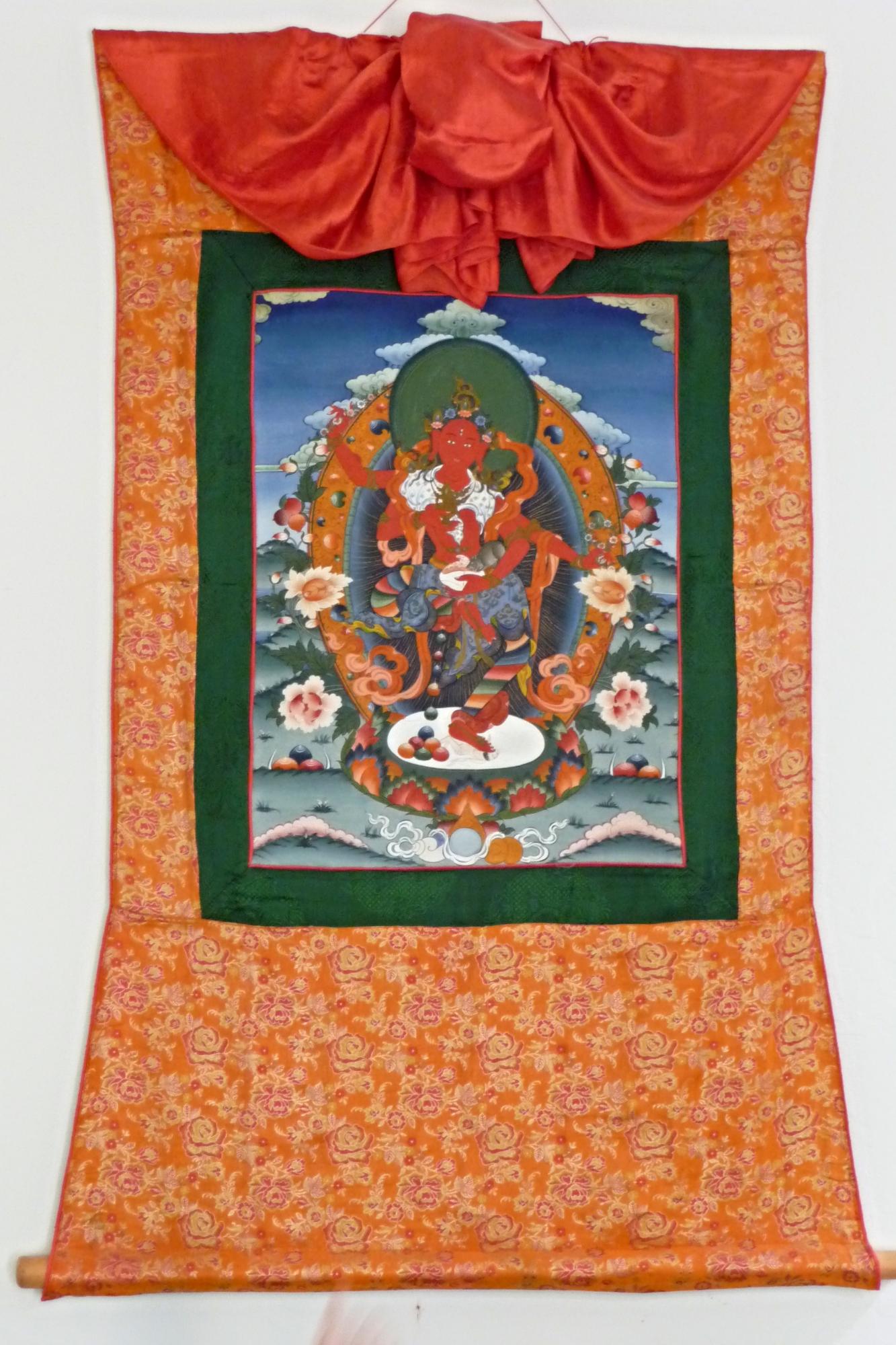 Indian Brocade Frame for Standing Red Tara Thangka