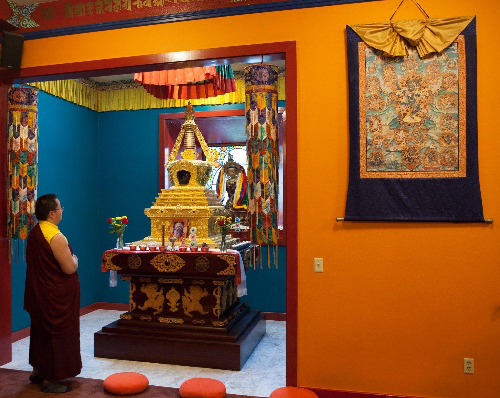 Throma Thangka in RL Shrine room 2018 with Dudjom reincarnation.jpg