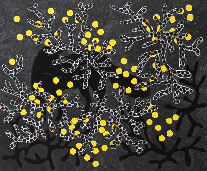 foxfire, 2015 / ink and charcoal drawing on paper / 110cm x 90cm