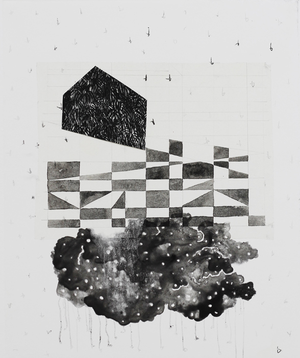 borderlands - cloud house, 2014 / monoprint &collage on paper / 56cm x 61cm
