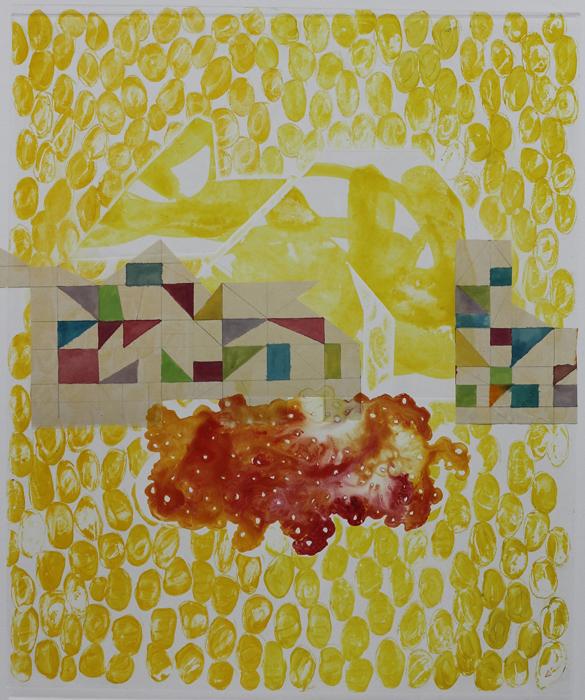 borderlands - cliff house, 2014 / monoprint &collage on paper / 56cm x 61cm