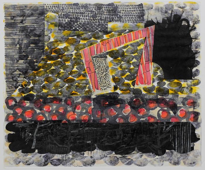 borderlands - fire house, 2014 / monoprint &collage on paper / 61cm x 56cm