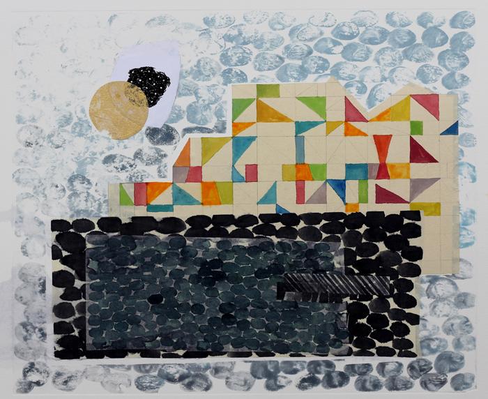 borderlands - pool house, 2014 / monoprint &collage on paper / 61cm x 56cm