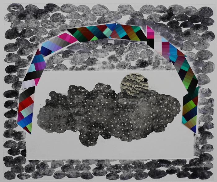 borderlands - rain house, 2014 / monoprint &collage on paper / 61cm x 56cm