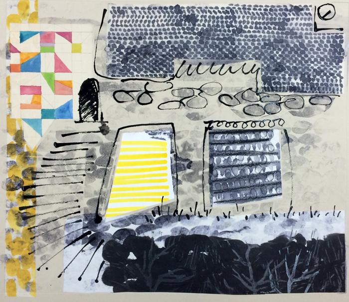 borderlands - spirit house, 2014 / monoprint &collage on paper / 61cm x 56cm
