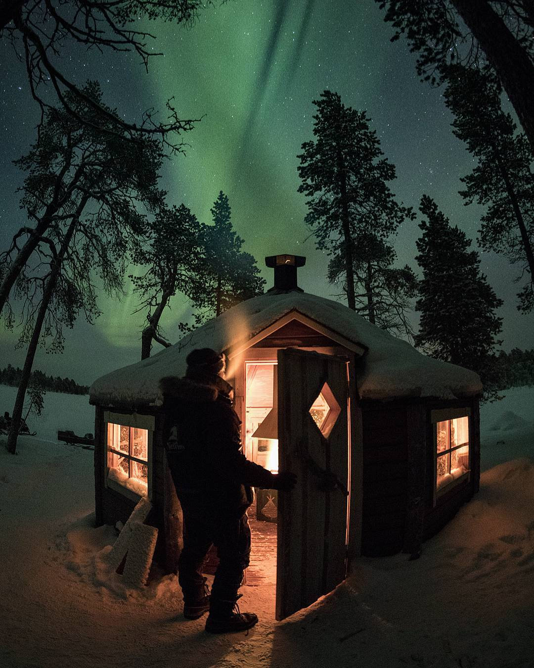 """""""I stayed in this hut in  Finnish Lapland  on an island in middle of a frozen lake while I hunted for Aurora Borealis .  This cozy place was more than I could ever need. """"   Submitted by  @anthophotographie"""