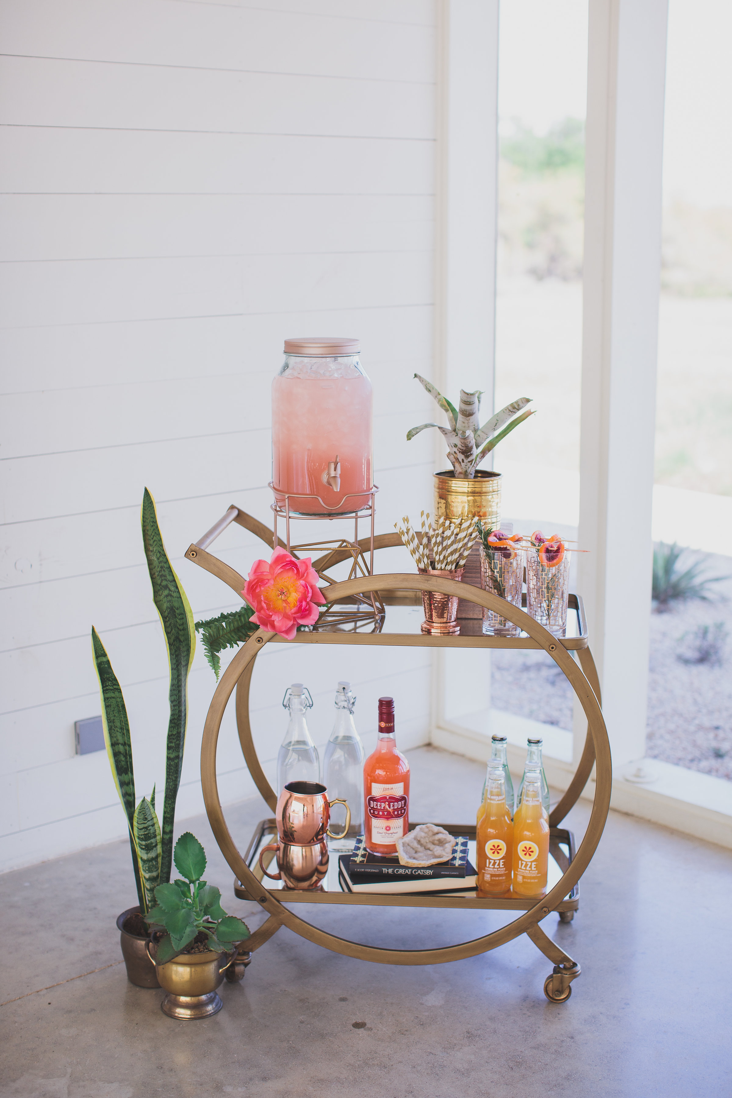 Gold, citrus and copper bar cart...yes please!