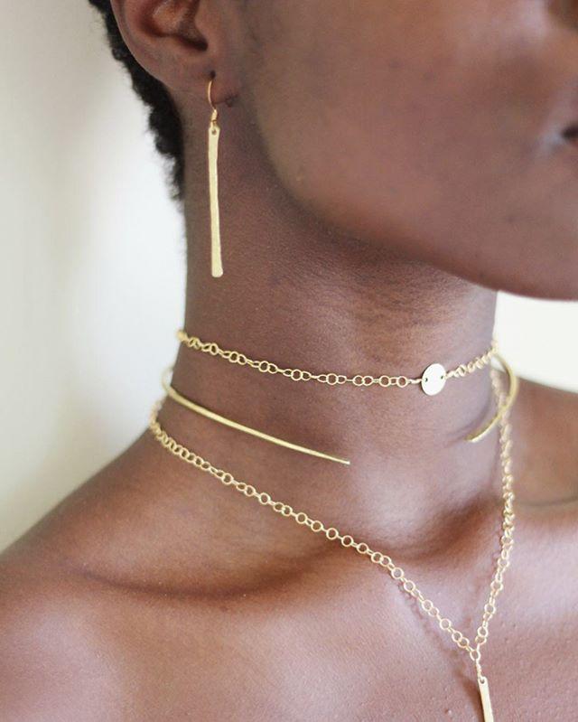 Handmade in Haiti 🇭🇹 ~ The Valencia Earring + Fira Choker Chain (adjustable), Nehemie Neck Cuff and Valencia Necklace (adjustable) ~ available on www.haitisjewels.com ✨