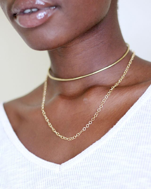1 piece / 3 ways to style • our Draped Chain Néhémie Neck Cuff is the piece of the year... pairs well with almost everything and is handmade with hammered brass and gold-filled chain. Check it out online ⚡️