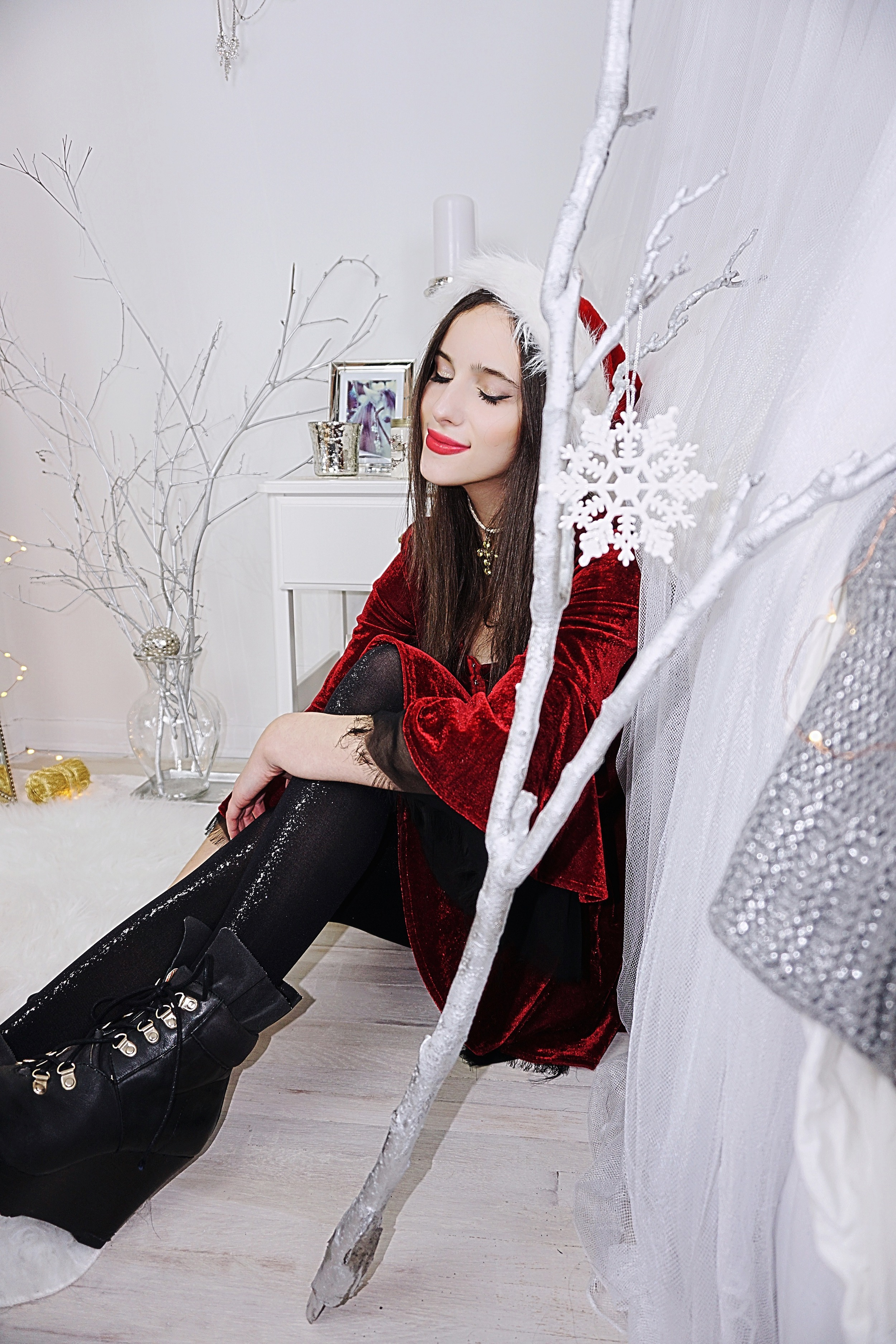 dress:  unif via dollskill  | tights:  urban outfitters  | boots:  n/a  | choker:  diy  | hat:  cvs  | jewelry wall hooks:   imm living   | ornament stand:   pier one imports   | snowglobe ornament:   anthropologie
