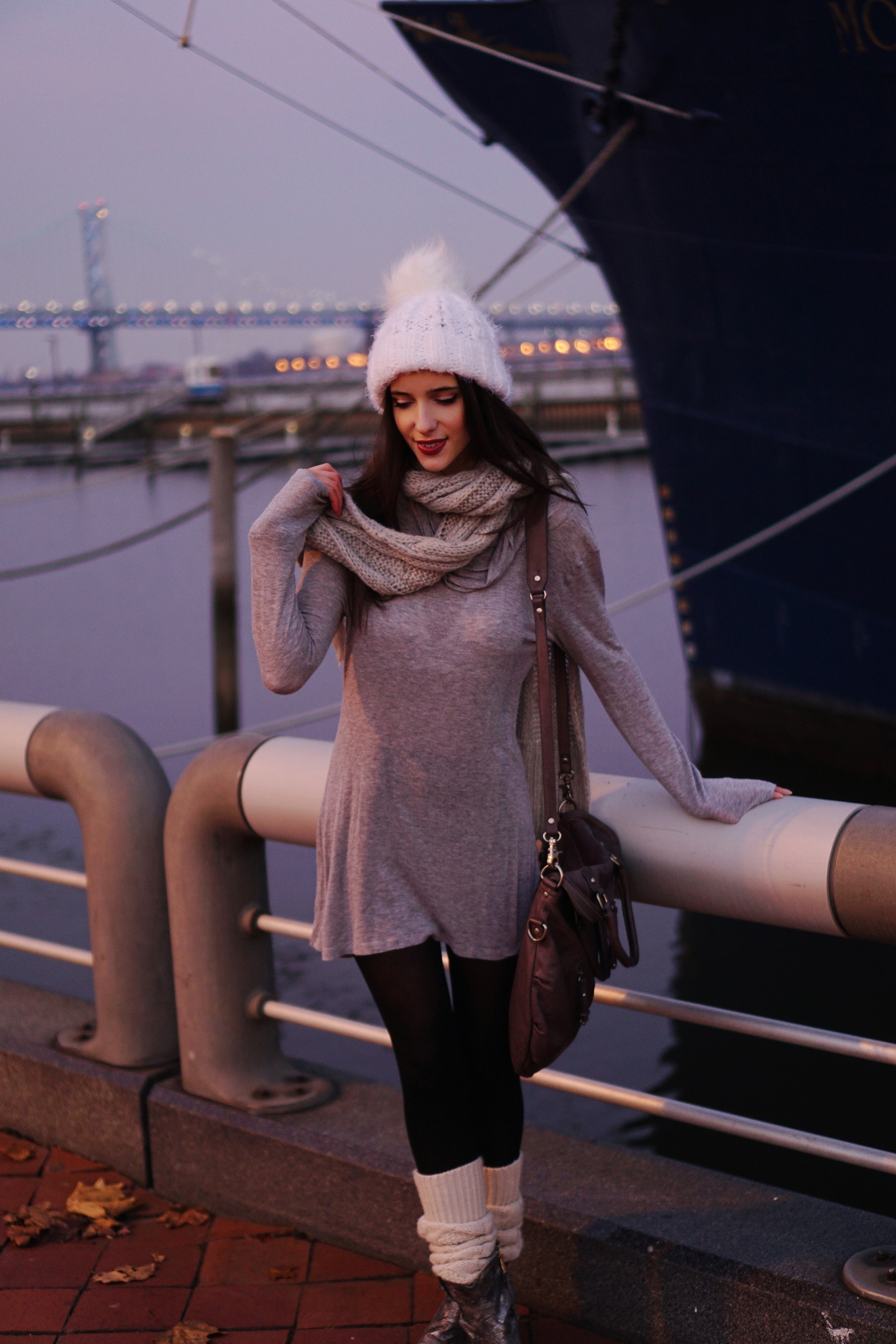 hat:  my design  | choker:  diy  | tunic:  n/a  | tights:  n/a  | legwarmers:  n/a  | boots:  free people  | bag:  urban outfitters  | scarf:  n/a