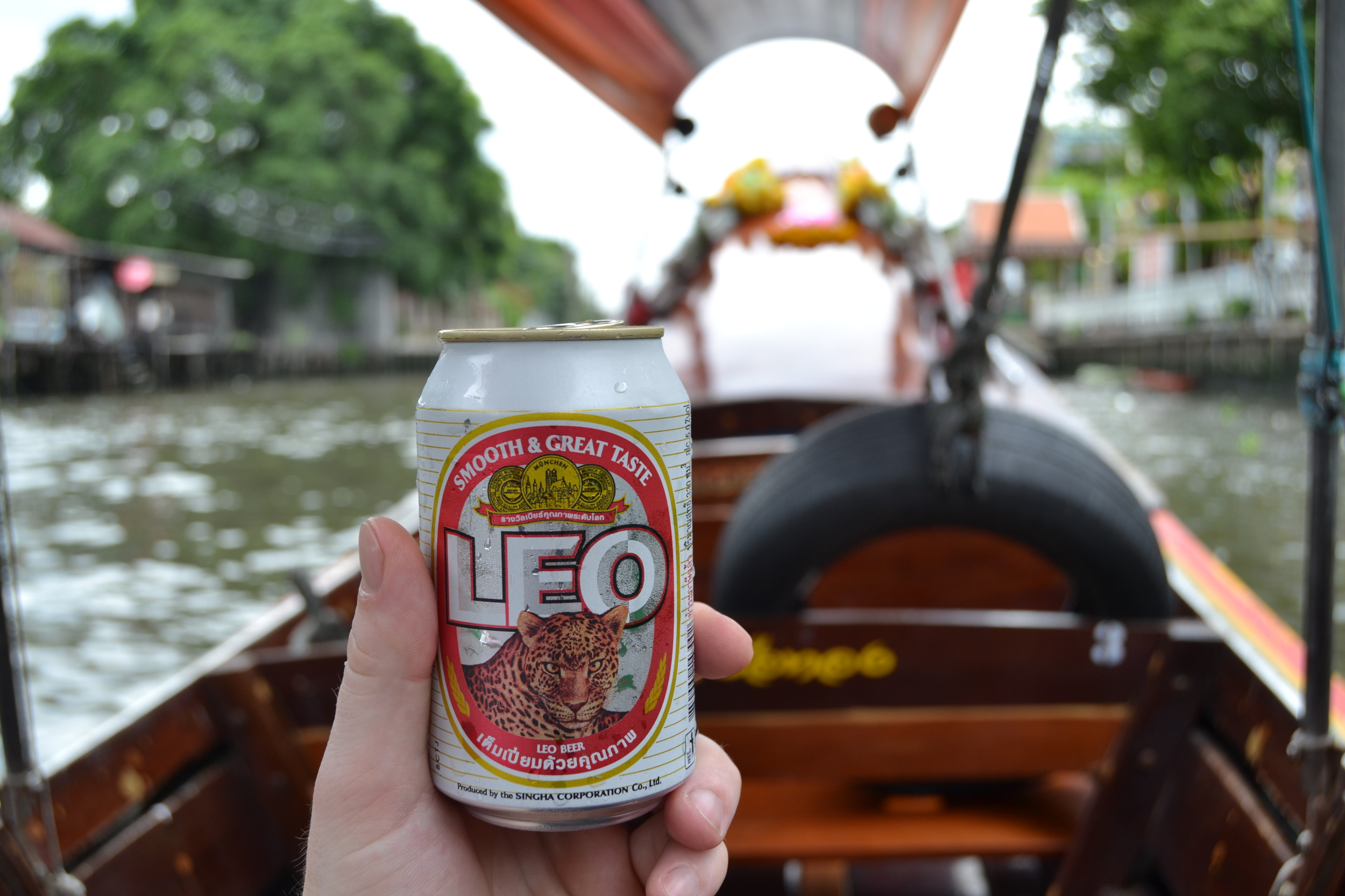 Beer from floating market (aka a woman who pulled up to our boat and that's the only worthwhile thing she was selling)