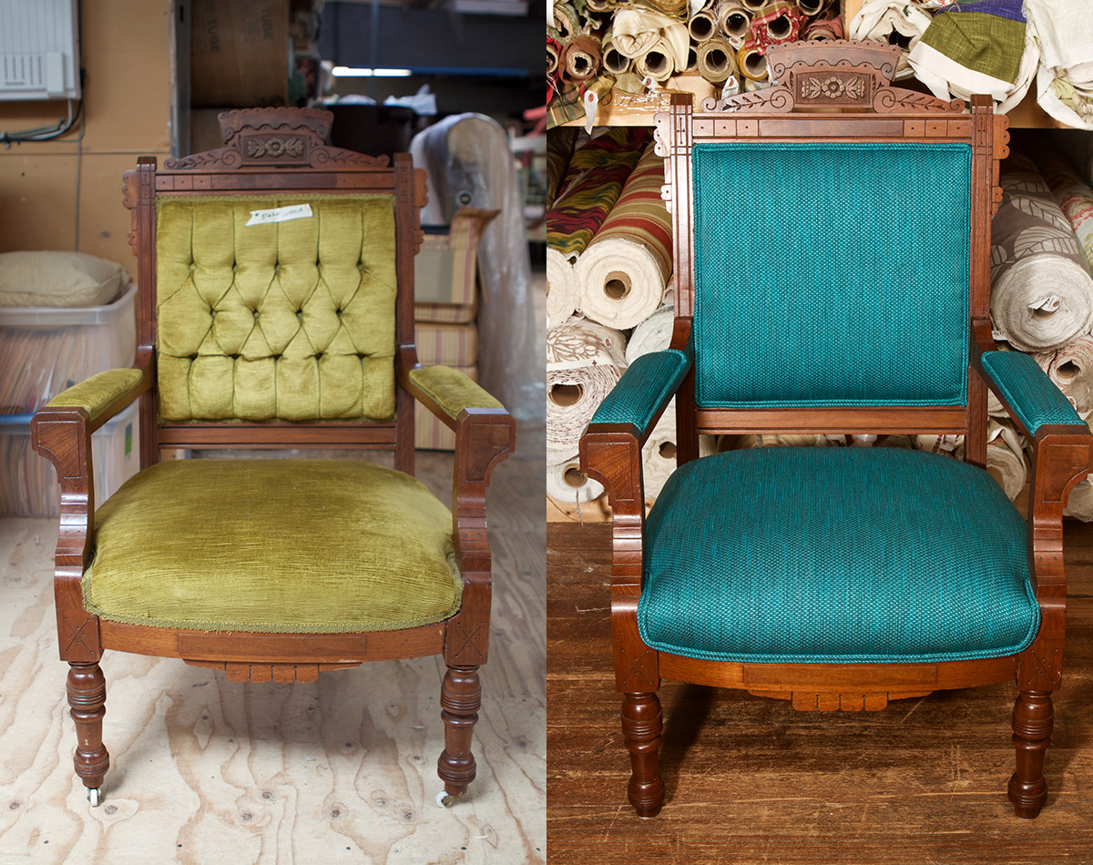 Before:   This green gem was an antique that was absolutely worth keeping in the family home.   After:   Now, this Brightened Eastlake Arts and Crafts chair will remain an heirloom for several generations, with its turquoise hopsack fabric and stately woodwork worth admiring.