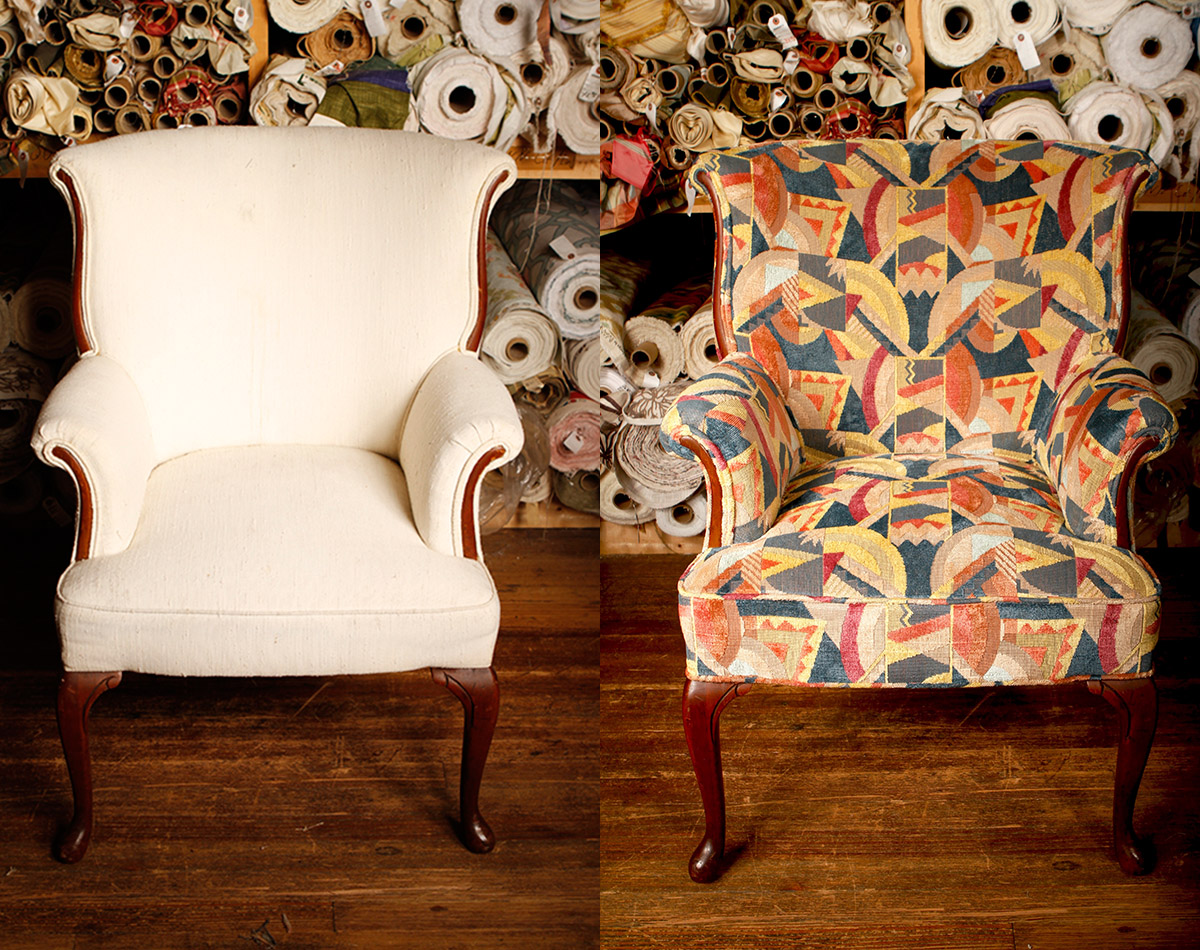 Before:   We love the shape of this elegant wingback and appreciate its curved lines – even if it was a little vanilla.   After:   Zimman's sure gave it pizzazz! With luxurious Clarence House cut velvet so pleasing to the touch, this shapely piece now has personality and tons of charm.