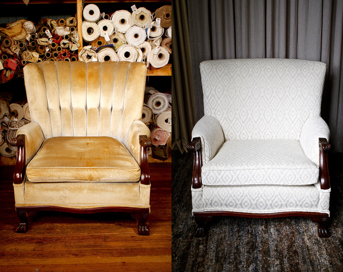 Before:   This tight back claw foot lounger was a super cool statement piece, but a tad outdated.   After:   Now, it's kept cool but has an added advantage: a sleek modern look and comfortable feel with diamond chenille.