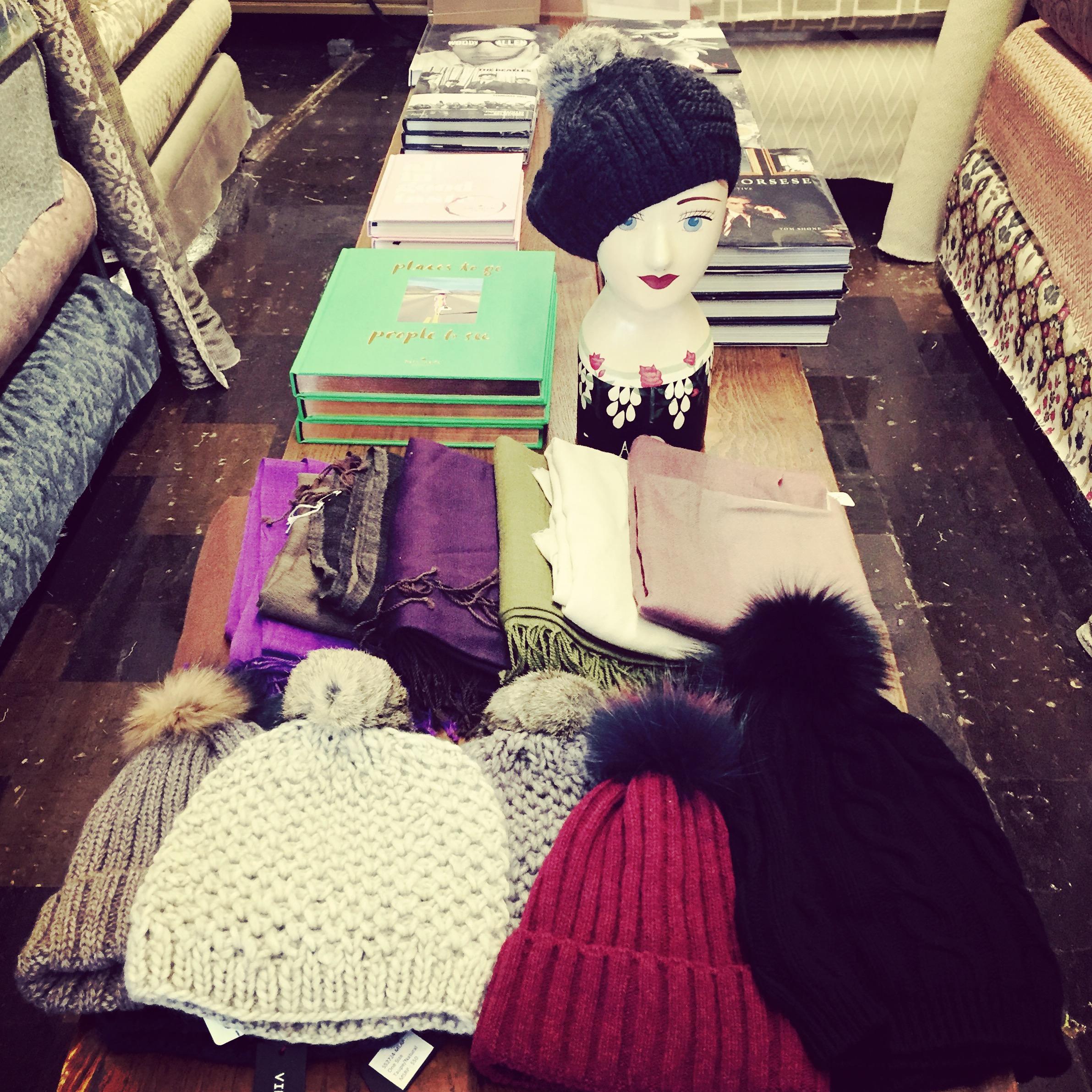 Wool & Fur Pom Pom Hats and Wool & Silk Scarfs