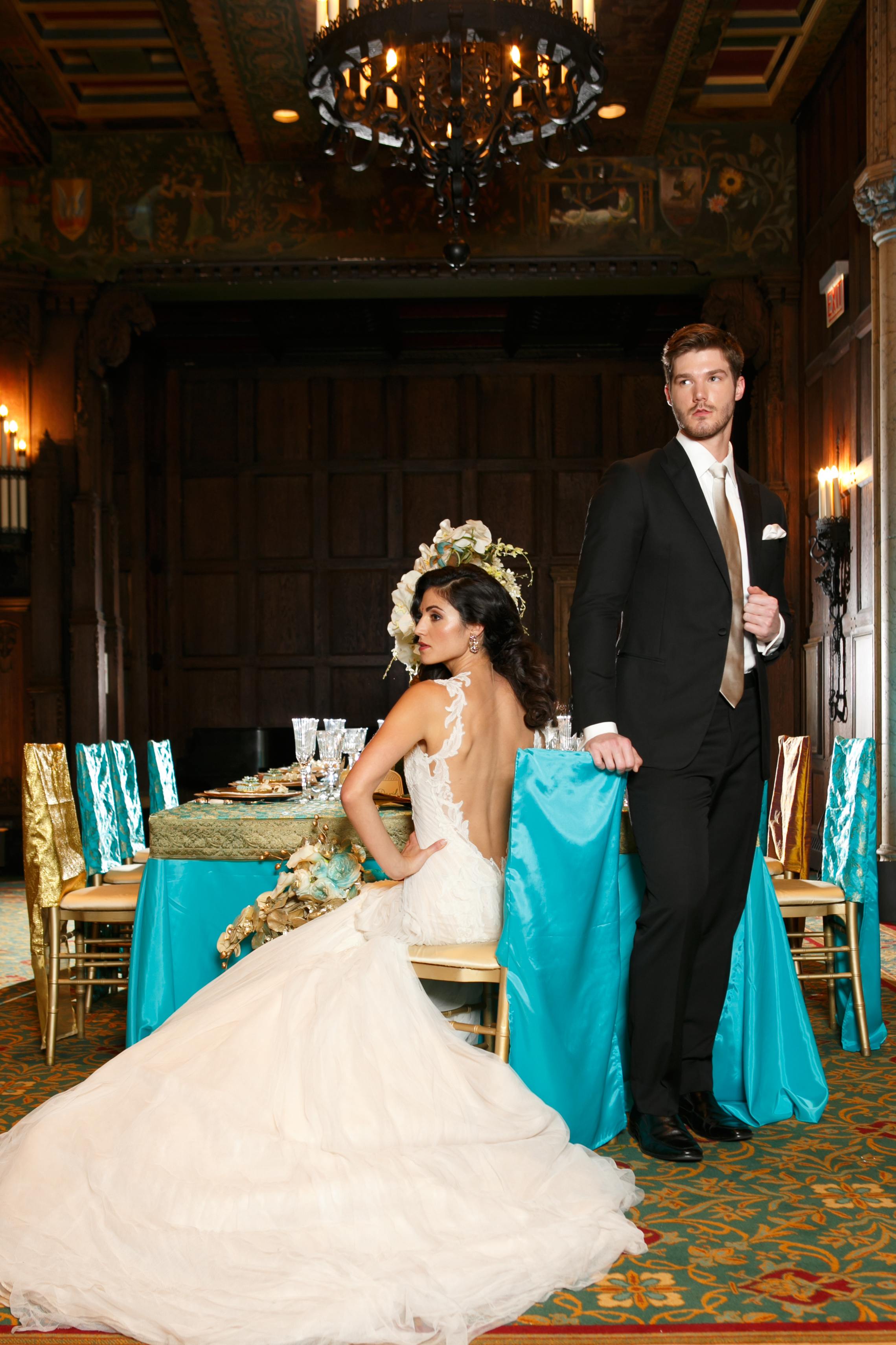 Teal and Ivory Wedding Details with Gold Accents by Navjot Design | SYPhotography