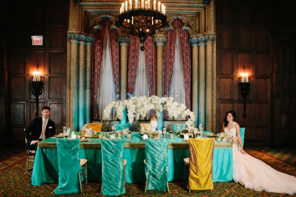 Teal and Ivory Wedding Details with Gold Accents by Navjot Design