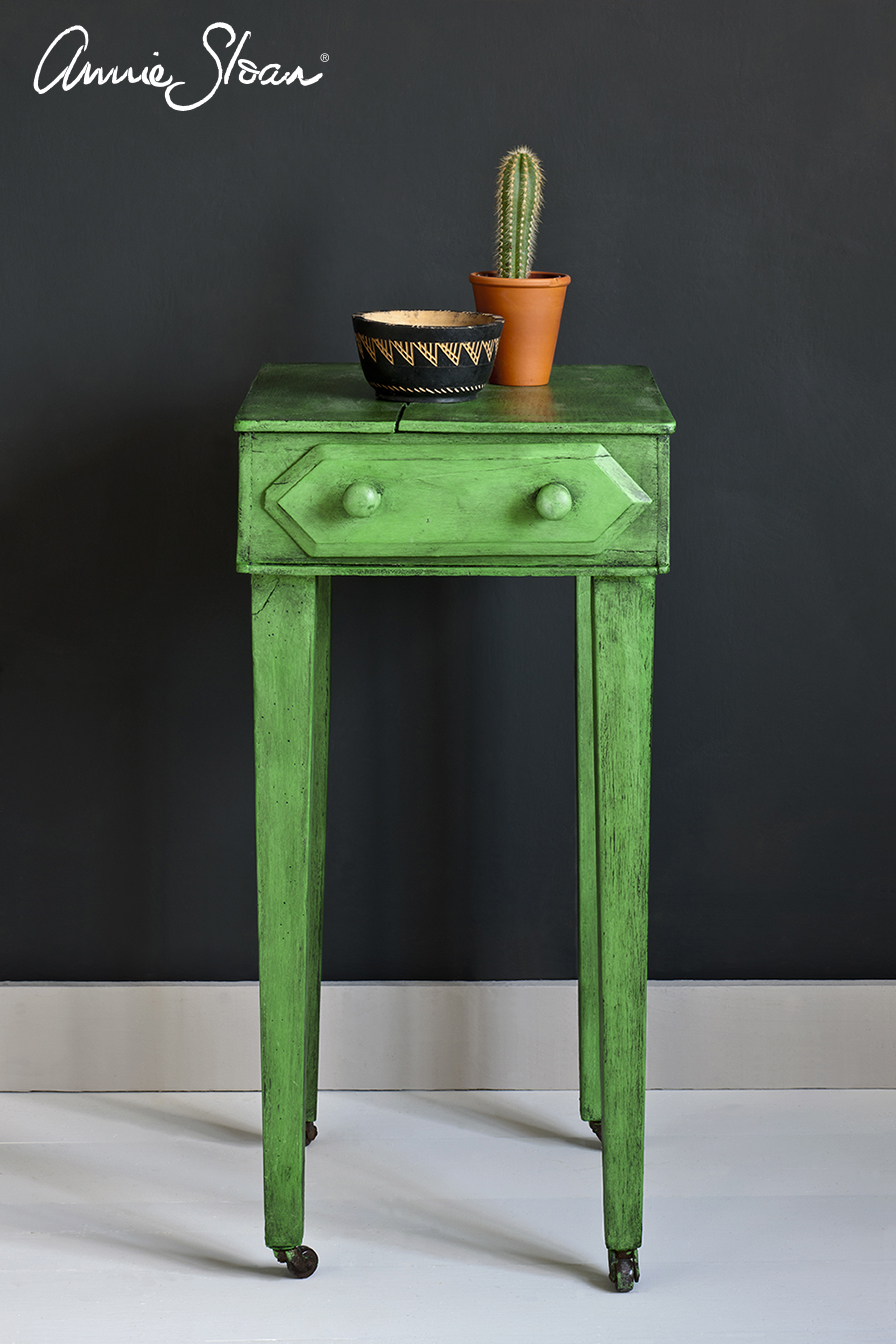 Antibes Green side table, Black Wax, Graphite Wall Paint Image 1.jpg