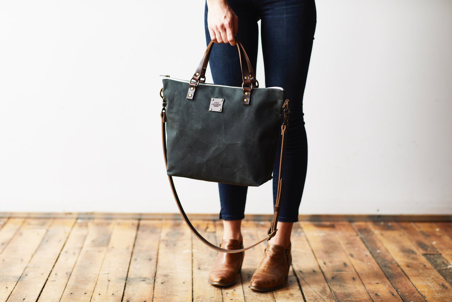 Waxed Canvas And Leather Handbags