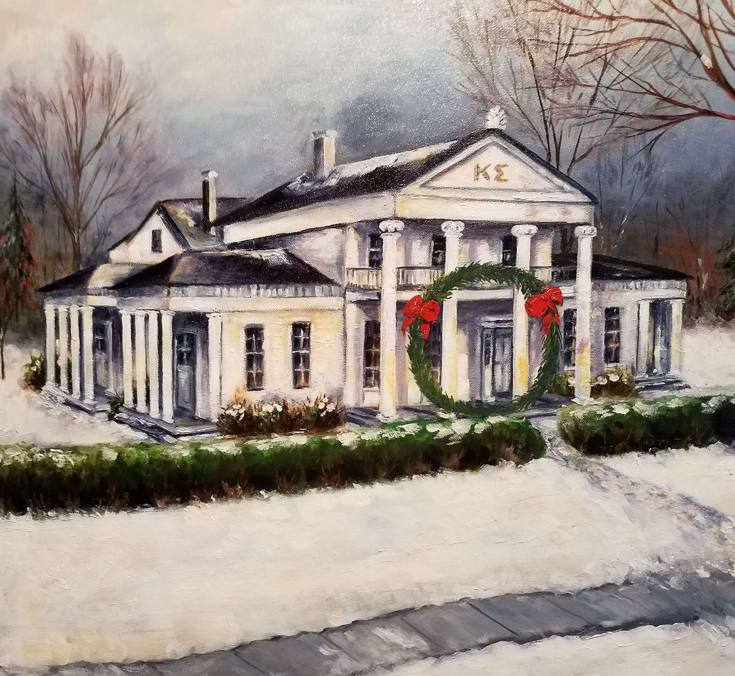 A large Christmas wreath mounted on what was once the second story porch was the brainchild of Harlamert to send holiday greetings to the community. His wife, Barbara, later depicted it in a painting. --- photo courtesy of Harlamert