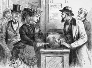 Victoria Woodhull was turned away as she tried to vote.