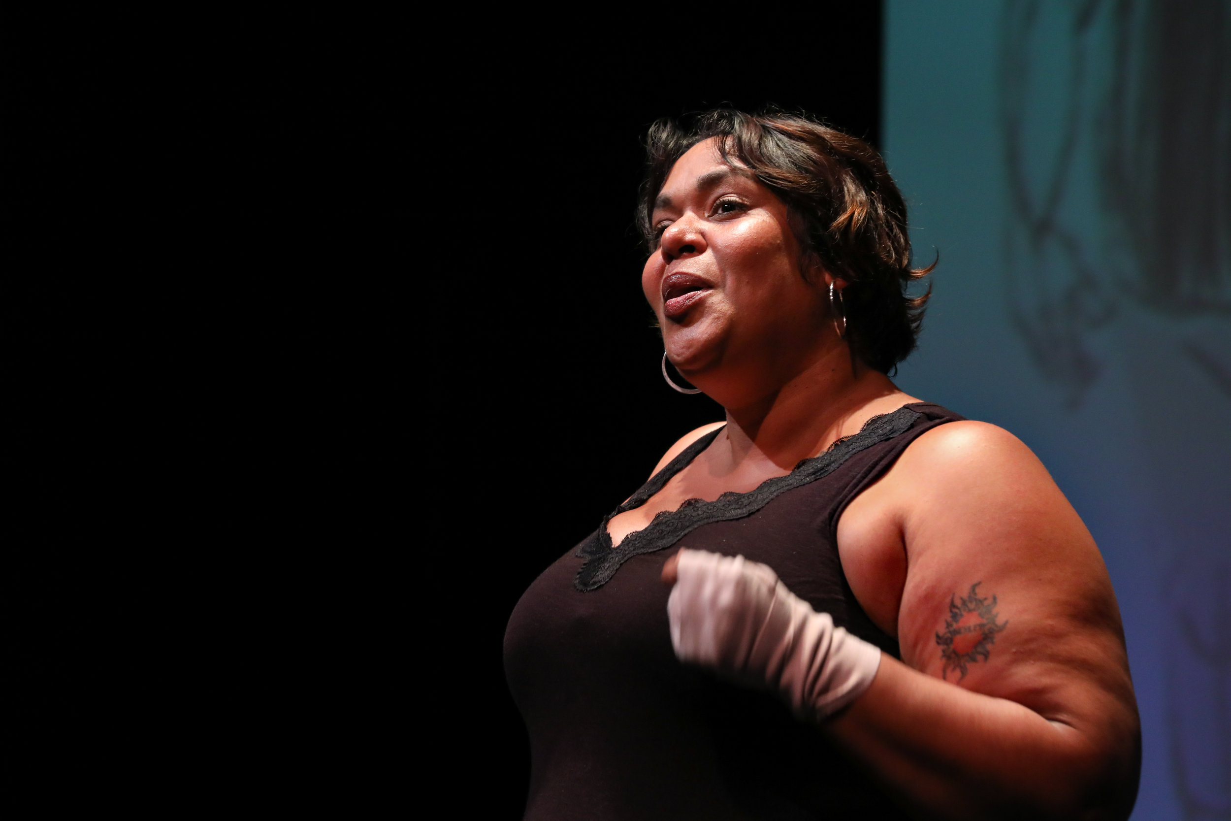 Photo by HuthPhoto. Production by PlayMakers Repertory Company. Pictured: Florinda Bryant. Illustrations by Zeke Pena.