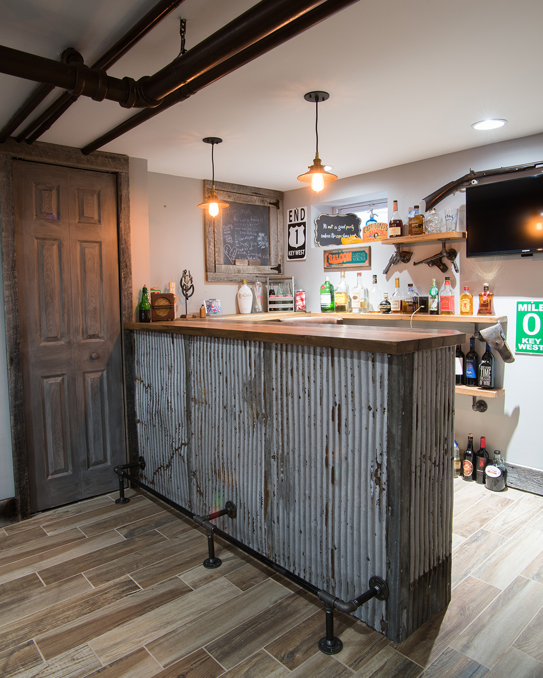 Reclaimed Tin and Wood at Home Bar