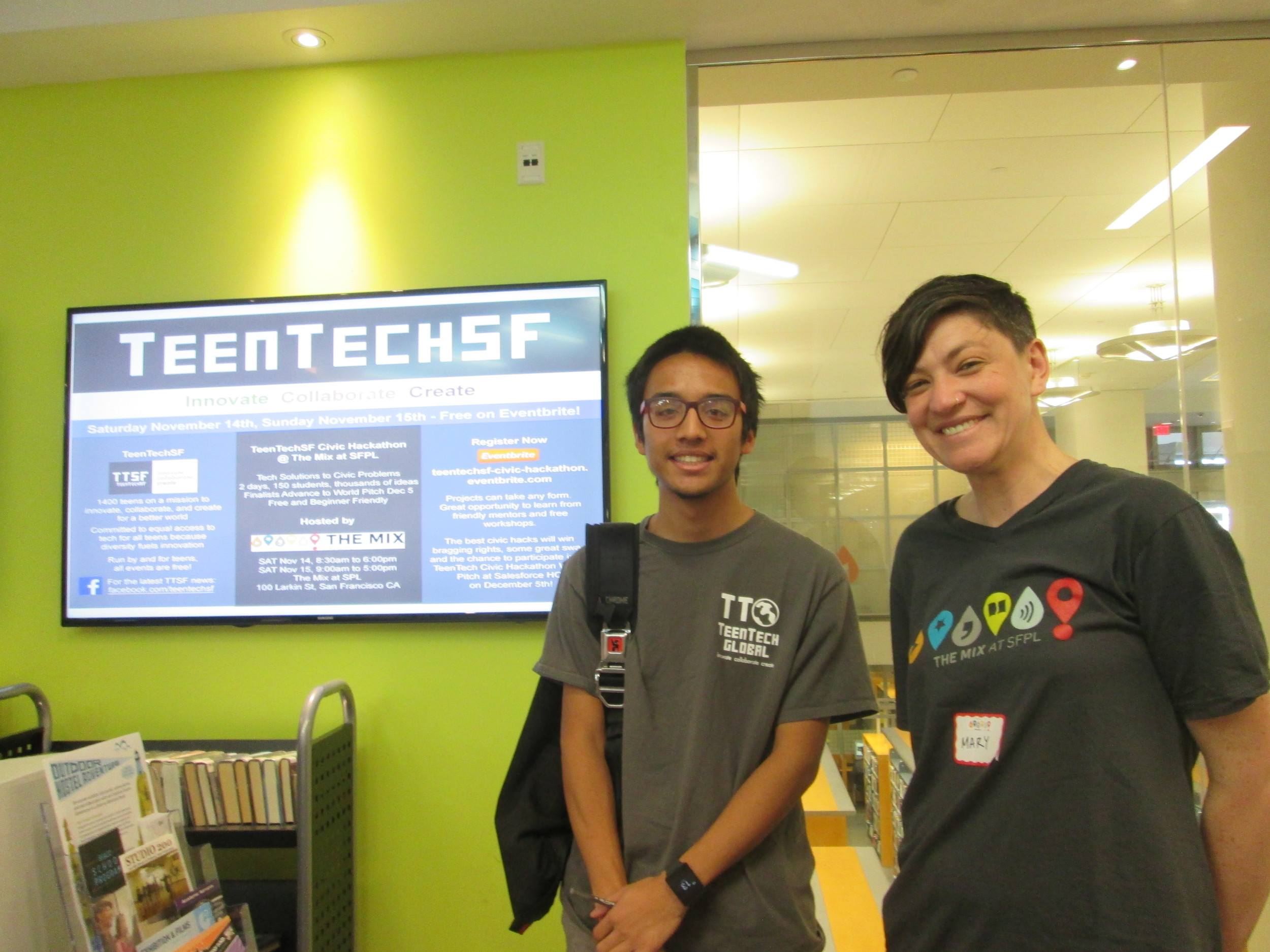 @TheMixatSFPL: TeenTechSF Founder Marc Robert Wong w/ The Mix Teen Librarian Mary Abler