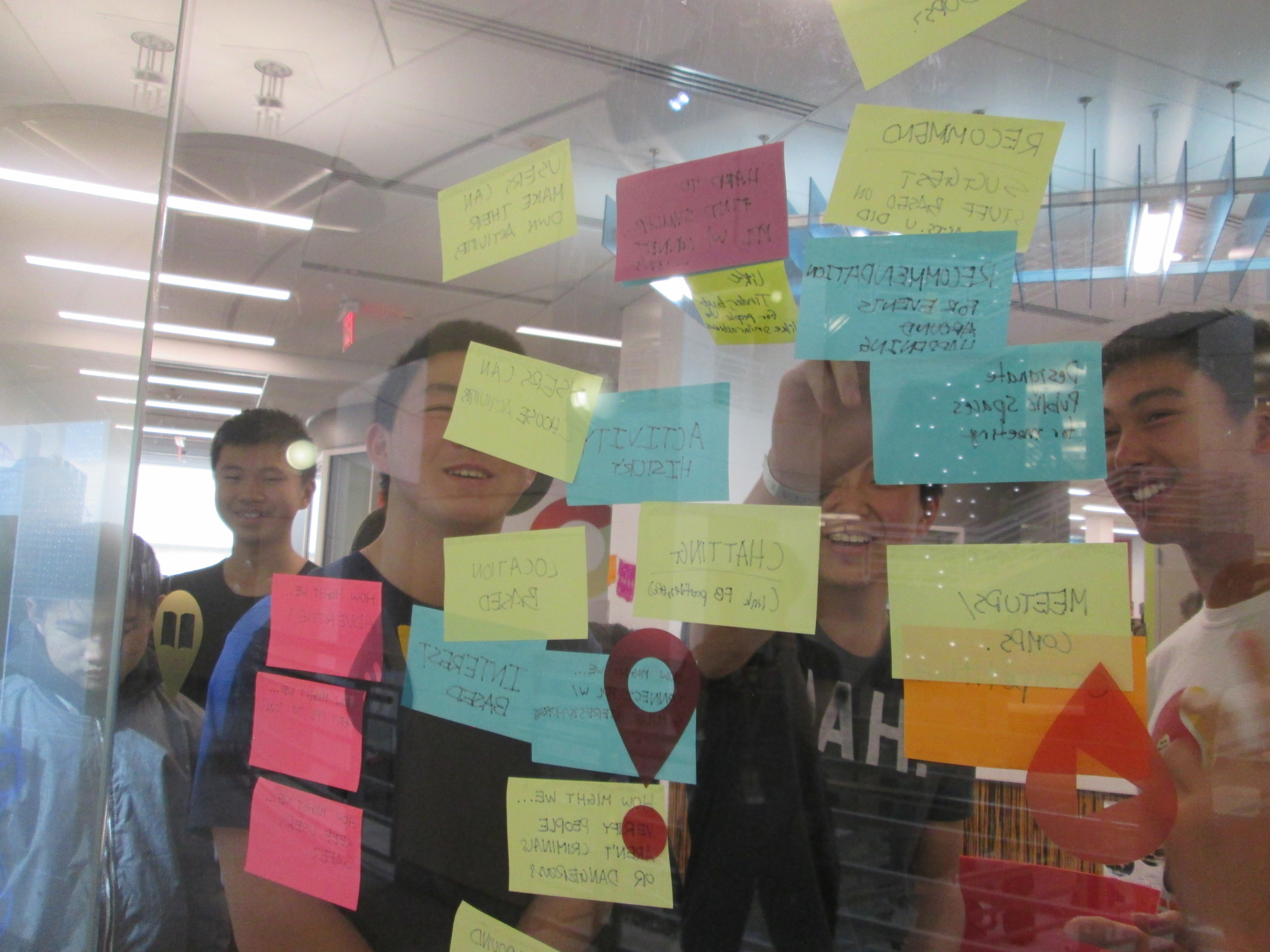 Digital Wall goes Old School: IDEO workshop students using post-its as part of design thinking process