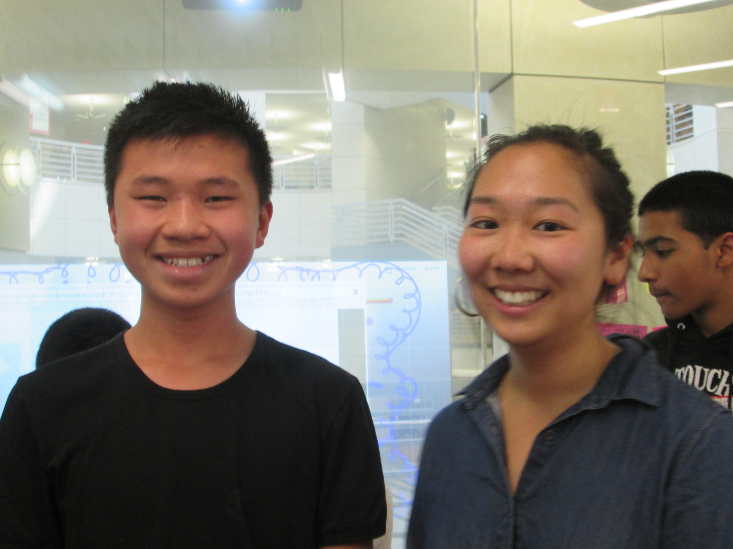 Current Lick-Wilmerding student bonding with IDEO Impact Mgr Yennie Lee, L-W alumna